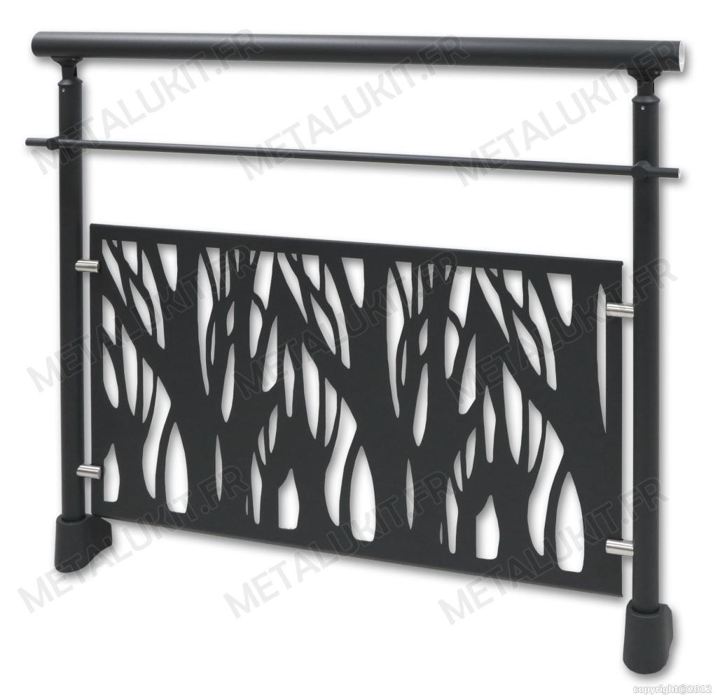 garde corps alu gris anthracite avec t le perfor e en kit fix au sol. Black Bedroom Furniture Sets. Home Design Ideas