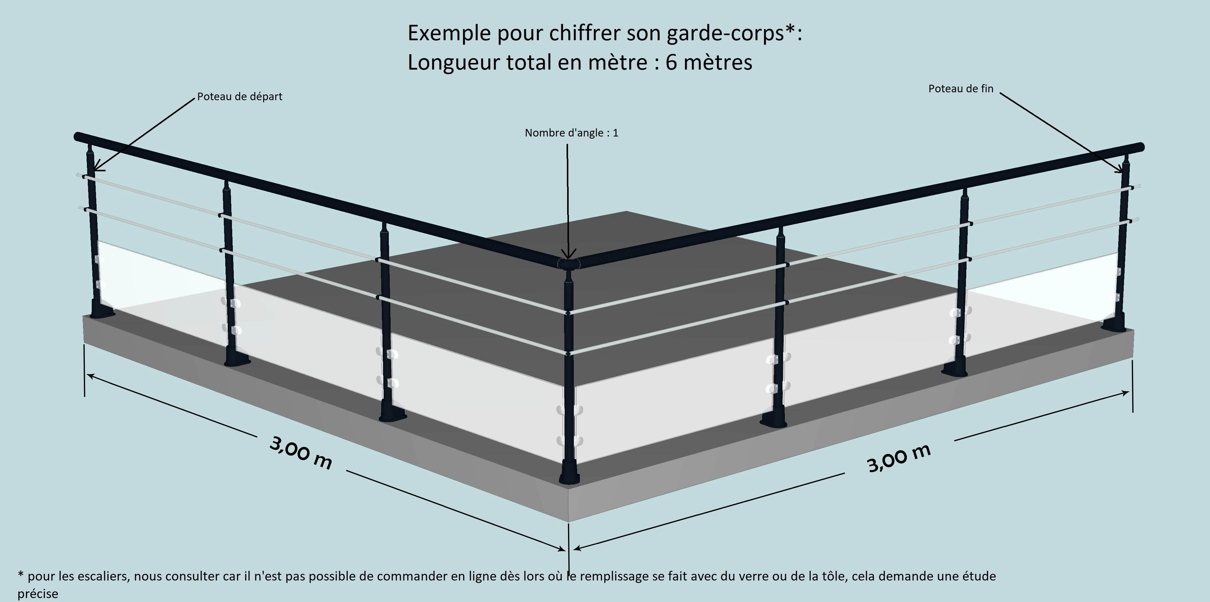 garde corps alu finition inox 5 lisses horizontales hauteur finie de chrome ch 5lisses. Black Bedroom Furniture Sets. Home Design Ideas