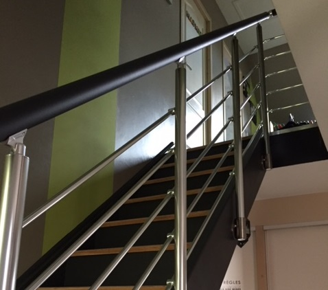 Rambarde d'escalier 5 lisses avec option main-courante gris anthracite RAL7016