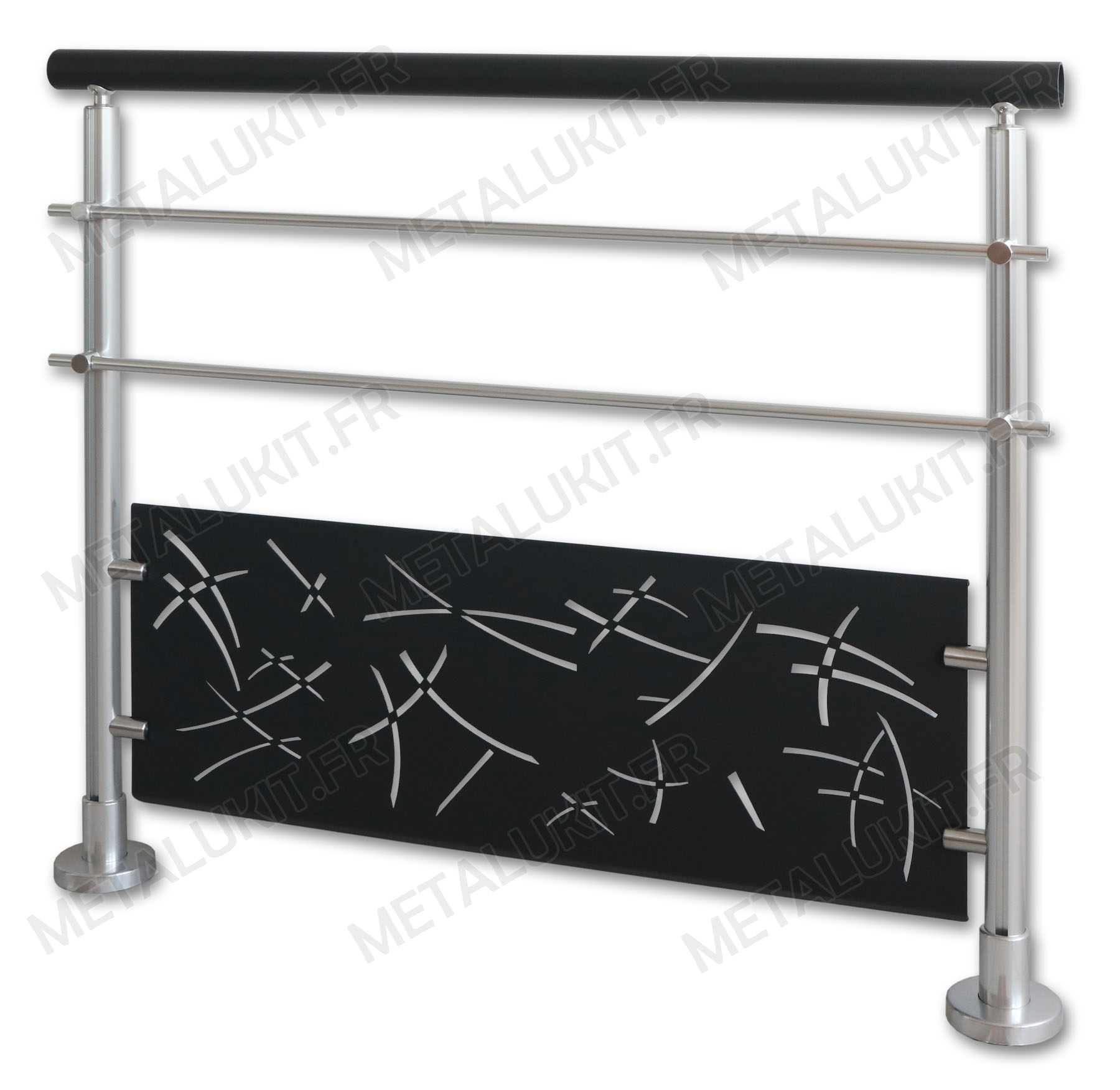 garde corps alu gris anthracite avec t le perfor e en kit. Black Bedroom Furniture Sets. Home Design Ideas