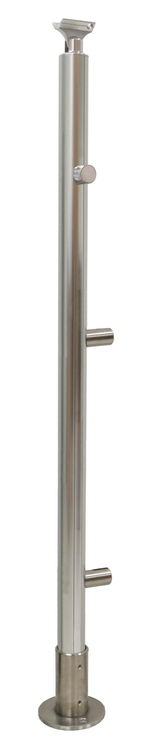 Poteau de sol d'extrémité droite pour remplissage avec tôle décorative aluminium façon inox